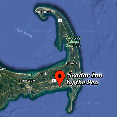 map showing the Seadar Inn located near the beach in Harwich on Cape Cod
