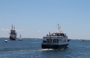 A Dolphin Fleet whale watching boat heading out of Provincetown Harbor.