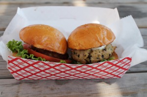 Ahi tuna burgers from Far Land on the Beach.