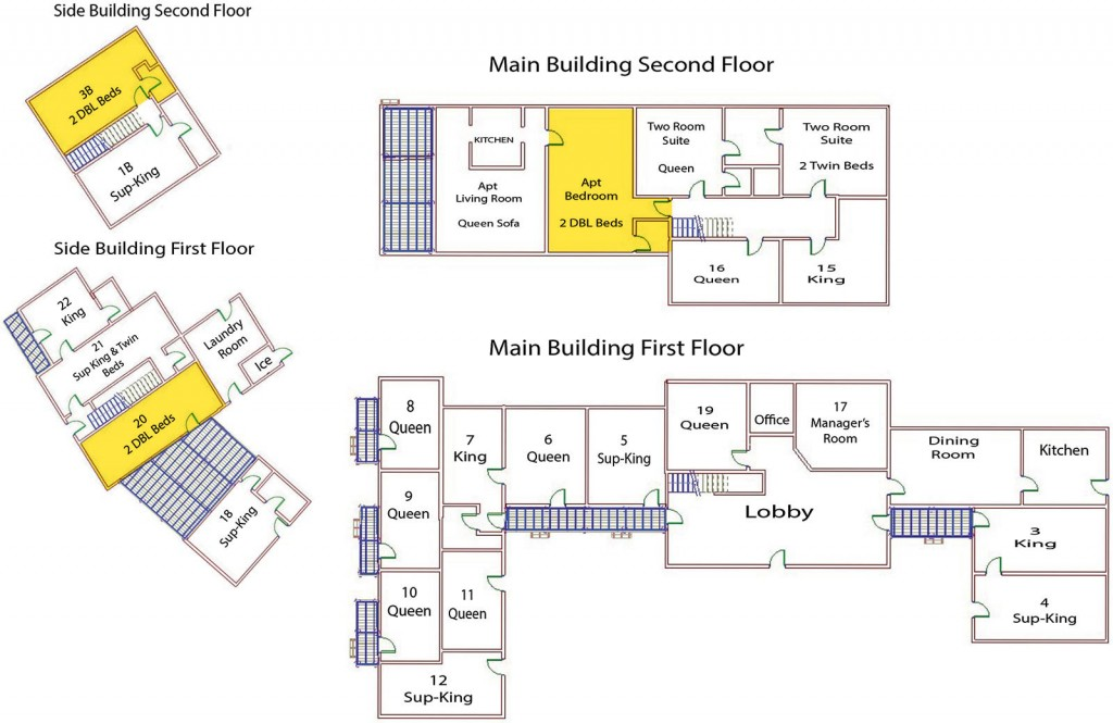 Seadar Inn floor plan showing our three superior double rooms, one of which is a ground floor unit