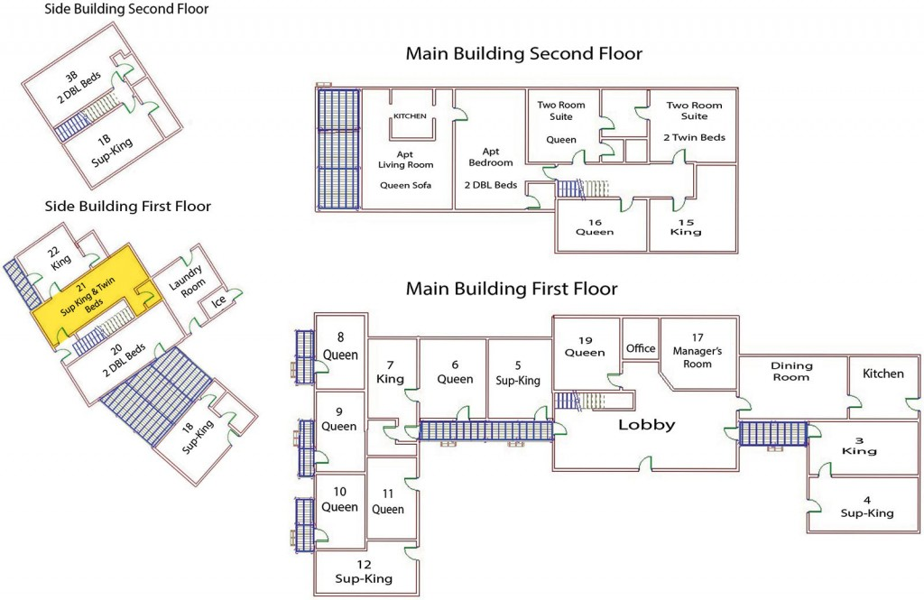 Seadar Inn floor plan showing the one ground floor superior room with king and two twin beds