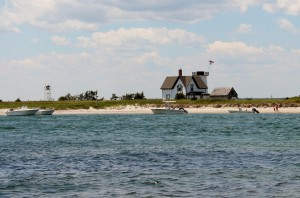 The view of Stage Harbor Light from the trail at Monomoy National Wildlife Refuge.